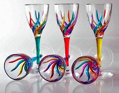 GLASSWARE - VENETIAN CARNEVALE CORDIAL GLASS SET OF SIX - HAND PAINTED CRYSTAL