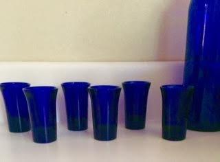 Vintage Mid Century Modern Cobalt Blue Shot Cordial Glass Set of 6