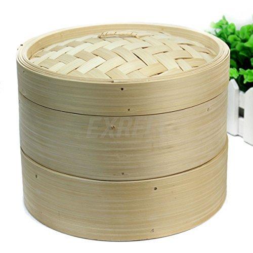 2 Tier Bamboo Steamer Basket Set 20x20x16cm Fish Meat Rice Dim Sum Pasta Cooking