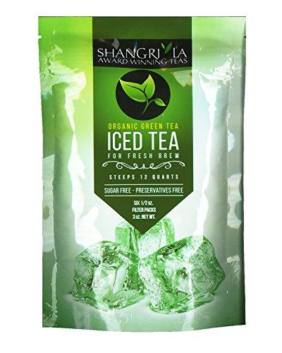 Shangri La Tea Company Iced Tea Organic Green Bag of 6 12 oz Pouches