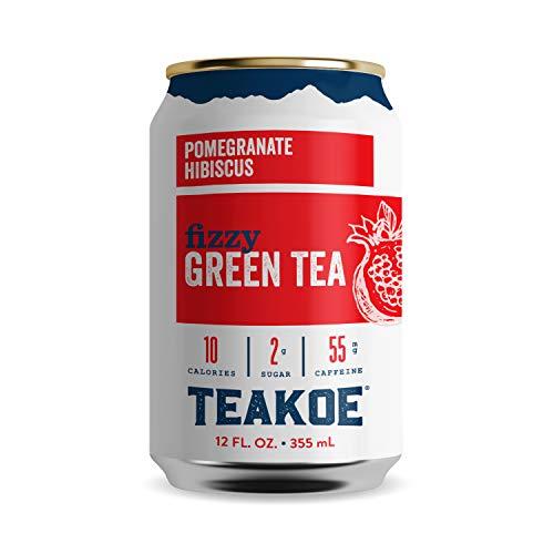 TEAKOE Fizzy Tea  100 Organic Green Tea w Pomegranate Hibiscus  Brewed Iced Tea Pomegranate Juice Hibiscus Tea  Vegan Tea Energy  10 Calories 2g Sugar 55mg Caffeine 1212 fl oz Cans