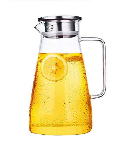 Gobize 64 Oz Borosilicate Glass Water Carafe Pitcher with Stainless Steel Infuser Lid Water Jug for Hot or Cold water Ice Tea and Juice Beverage