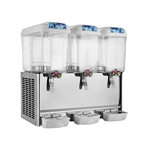 Happybuy 3 Tanks Juice Dispenser 1425 Gallon Tank Cold Beverage Dispenser PlasticStainless Steel Finish Beverage Dispenser Commercial Use 1425Gallon