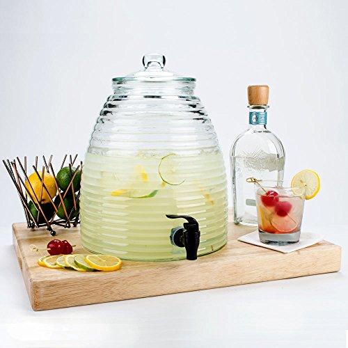 Lead Free Clear Glass Jar-water Juice Dispenser Lemon Fruit Extractor Juices Beverage Storeage Jar Orange 12 Inchess Tall