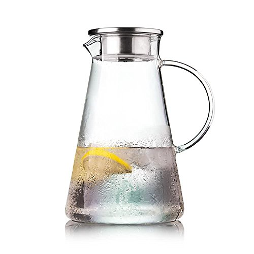 Lees 62 Oz18L Borosilicate Glass Pitcher With Stainless Steel Strainer Lid for Fruit Infusions Water Jug for HotCold Water Ice Tea and Juice Beverage Carafe Lead-free