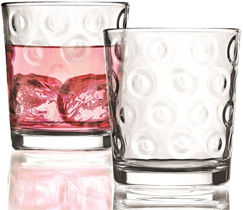 Circleware Circles Double Old Fashioned Whiskey Glasses Set of 4 13 oz Clear