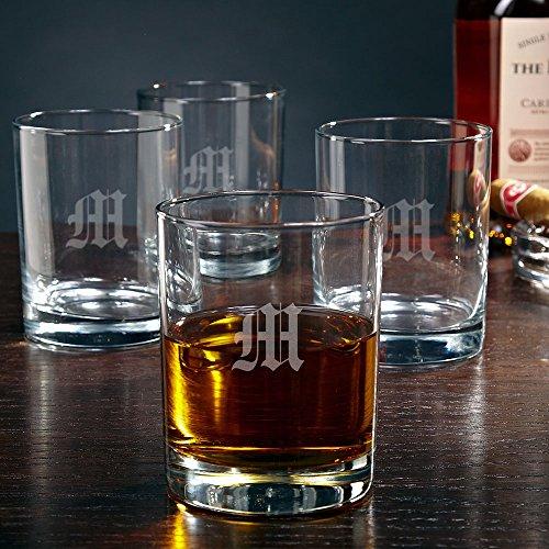 Eastham Single Initial Rocks Glasses set of 4 Customizable Product