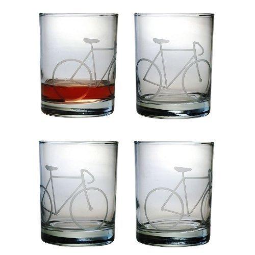 Susquehanna Glass Bicycle 4-pc Double Rocks Glass Set by Susquehanna Glass