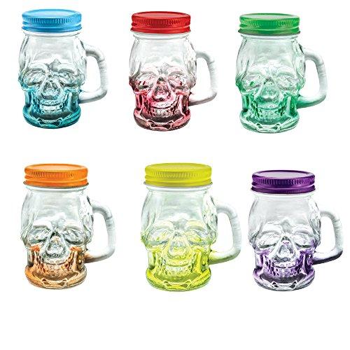 Shot Glass Skull Shaped Mason Jar Colorful Shot Glass 3 oz with Lid Set of 6 Assorted Colors