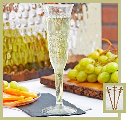 80 Count Disposable Champagne Glass 5 oz Plastic Clear 1-Piece Flute w FDL Party Picks