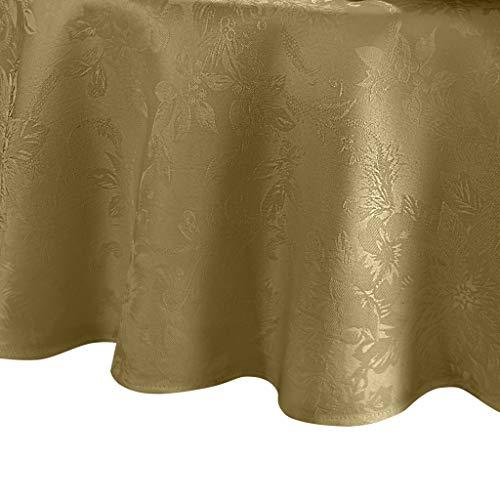 Elrene Home Fashions Poinsettia Elegance Jacquard Holiday Tablecloth 60 x 84 Oval Gold