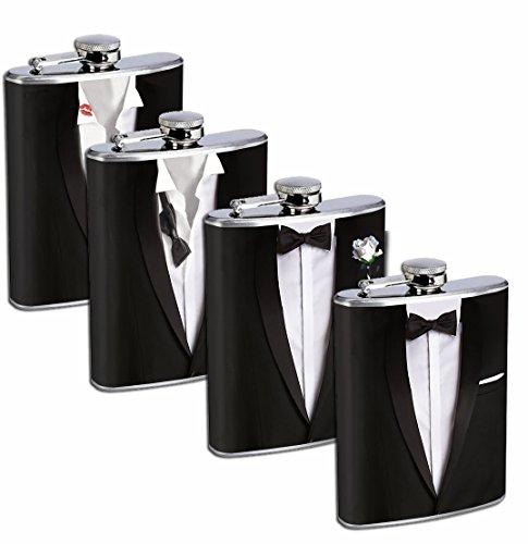Groomsmen Gift Set 4 - 8oz Stainless Steel Flasks Drinking Whiskey Wedding