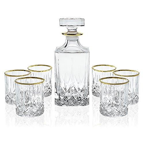 Elegant Manhattan Style Crystal Liquor Whiskey and Wine Decanter Set Irish Cut 7 Piece Set 1 Decanter 6 Old Fashioned 6 Oz DOF Glasses with 24k Gold Trim