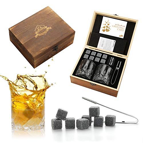 Whiskey Stones and Whiskey Glass Gift Set - Bourbon Scotch Whiskey Glass Set of 2 - Granite Chilling Rocks in Premium Wooden Box - Best Drinking Gifts for Men Dad Husband Birthday Holiday etc Medium