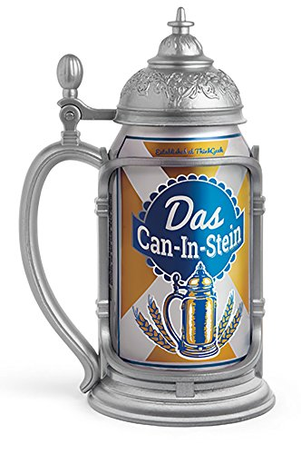 ThinkGeek Das Can-In-Stein Drink Holder - Oktoberfest Every Day Looks Like You're Drinking from a Pewter Tankard - Standard 12-Ounce Can