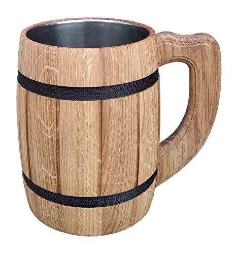 Wooden Beer Tankard Beer Mug Capacity 20 oz 06 l Wooden Beer Stein - Wood Carving Beer Mug of Wood Eco Friendly Great Beer Gift Ideas Beer Mug for Men Wooden Beige Tankard