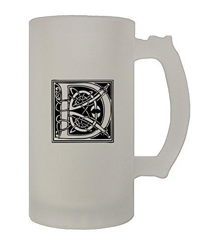 D Irish Celtic Monogram Letter D 16 Oz Frosted Glass Stein Beer Mug