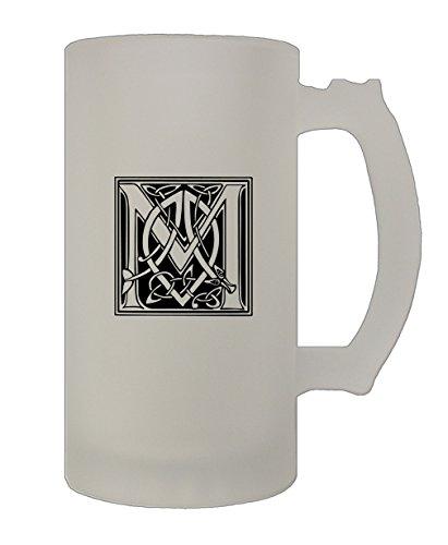 M Irish Celtic Monogram Letter M 16 Oz Frosted Glass Stein Beer Mug