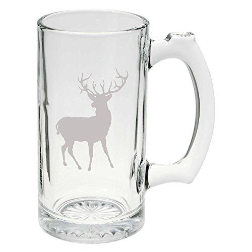 Buck Hunter Deer 25 oz Hand Made Etched Glass Stein Mug