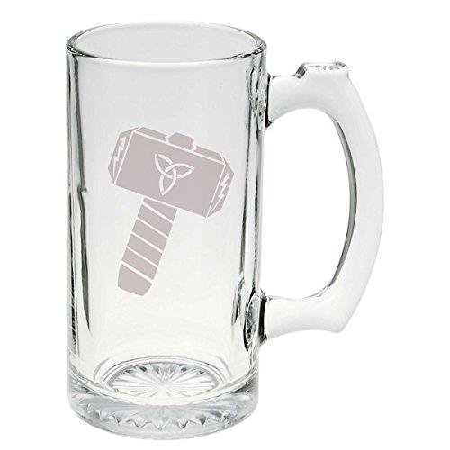 Thors Hammer Norse Mythology Glass Stein Mug 25 oz