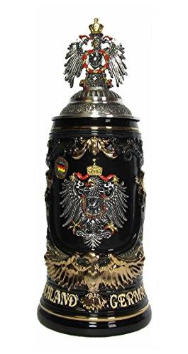 German Beer Stein Deutschland Shield Stein Goldeaglehandle 06 liter tankard beer mug