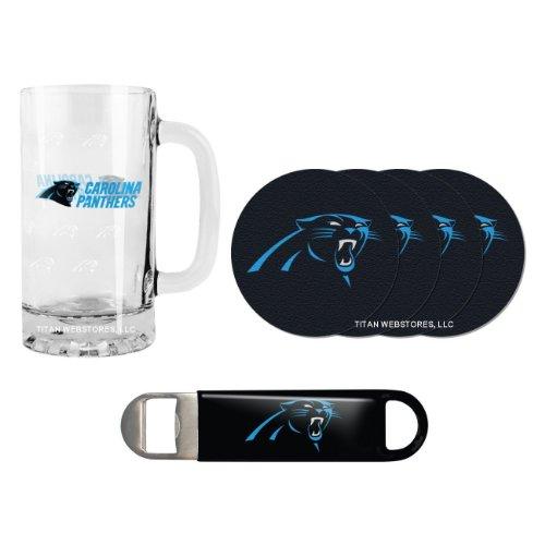 NFL Football Satin Etched Beer Mug Bottle Opener Coasters Set - 16 ounce Tankard Gift Set Panthers