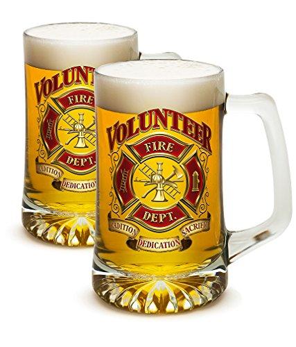 SET OF 2 Firefighters Volunteer Fire Dept 25 Ounce Tankard Beer Mugs