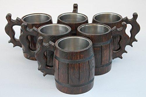 Set of 7 Personalized Wooden Beer Mug Groomsman gift Wooden Tankard Beer mug Wooden mug