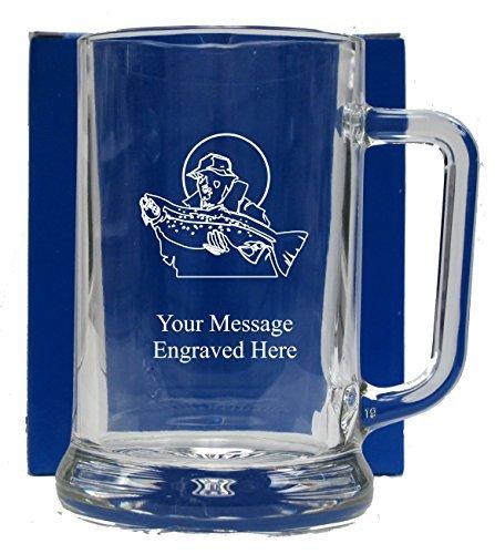 Engraved Fisherman Pint Glass Tankard Beer Mug