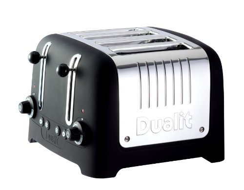 """Dualit Lite Traditional Design 46245 """"chunky"""" Toaster In Black Soft Touch Finish"""