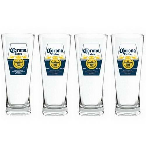 Set of 4 Corona Extra Beer Bar Label Print Flared Hi-Ball Glasses - 14 fl oz