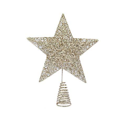 CN CS 13 Champange Gold Glitter Star Tree Topper - Christmas Home Decoration