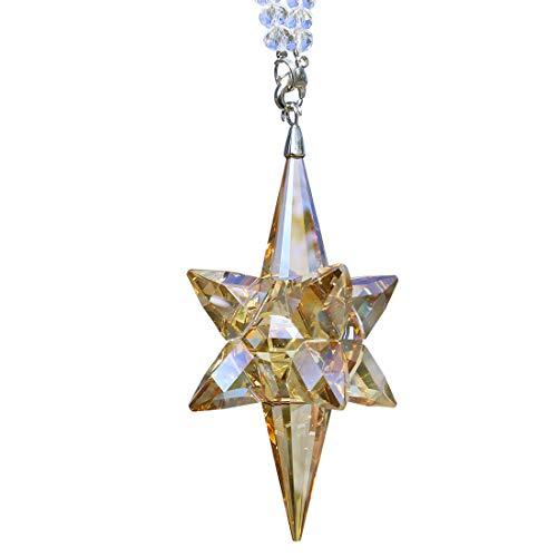 QF Crystal Ornament Christmas Star Snowflake Hanging Ornament Glass Pendant Collectible Suncatcher Champange