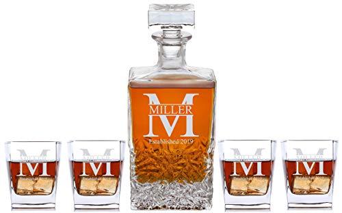 Personalized 5 pc Whiskey Decanter Set - Decanter 4 Glasses Gift Set - Custom Engraved  Miller Design