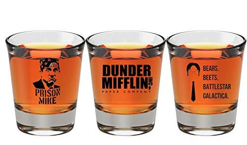 The Office Merchandise Shot Glass Gift Set - Prison Mike Dunder Mifflin Bears Beets Battlestar Galactica - The Office Gifts For Men And Women