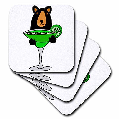 3dRose All Smiles Art Animals - Funny Cute Black Bear Drinking Margarita - set of 8 Coasters - Soft cst_255725_2