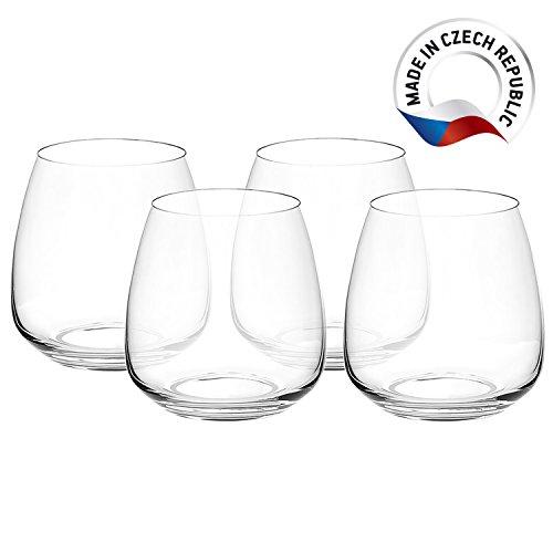 Set of 4 Premium Stemless Wine Glasses 135oz 400ml - Titanium Lead-Free Crystal Glass - Czech Glass