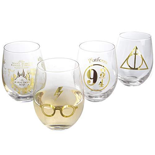 Harry Potter Stemless Wine Glasses Set of 4 - Gold Harry Potter Symbols and Designs - Glass - 17 oz
