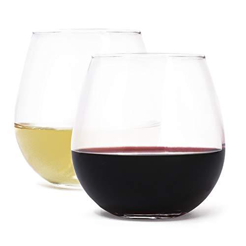 Zeppoli Wine Glass 4-Piece Set Stemless Clear Durable Glass