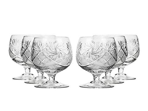 European Hand Cut Crystal Neman Glassworks Brandy Cognac Glasses 10 Oz Set of 6