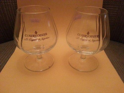 Set of Two 2 Authentic Courvoisier Contoured Snifter Cognac Glasses - Le Cognac De Napoleon