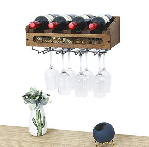 SODUKU Wall Mounted Wooden Wine Rack 4 Wine Bottles and 4 Long Stem Glasses Holder Wine Cork Storage Rack Walnut Brown