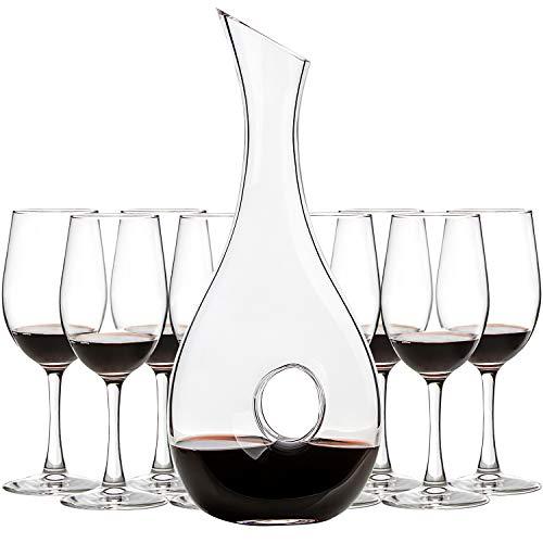 UMI UMIZILI 10 Liters Lead-Free Glass Wine Decanter Wine Carafe with 8 Pack 12 Oz Classic Wine Glasses