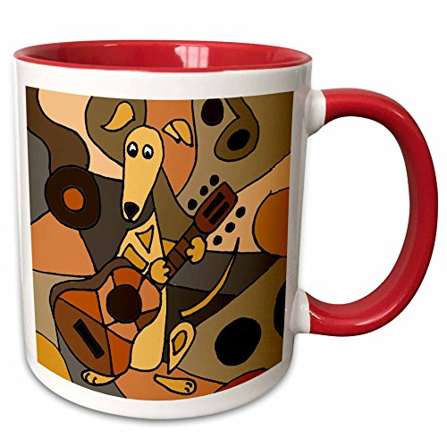 3dRose 224775_5 Funny Greyhound Dog Playing Guitar Abstract Art Two Tone Mug 11 oz RedWhite