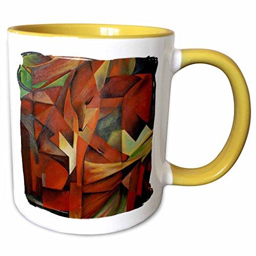3dRose Taiche Acrylic Art - Foxes Cubism - 11oz Two-Tone Yellow Mug mug_28168_8