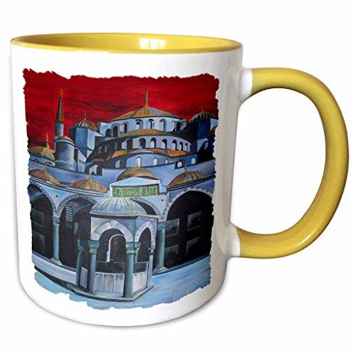 3dRose Taiche Acrylic Art - The Blue Mosque Sultan Ahmed Mosque - 11oz Two-Tone Yellow Mug mug_28186_8