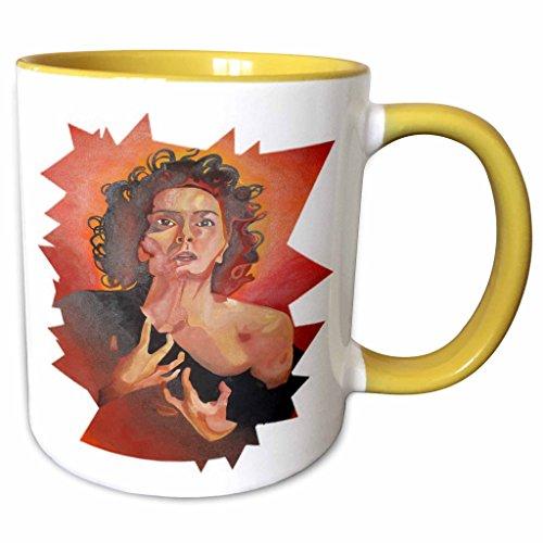 3dRose Taiche Acrylic Art - Women Drama Queen - 11oz Two-Tone Yellow Mug mug_24916_8