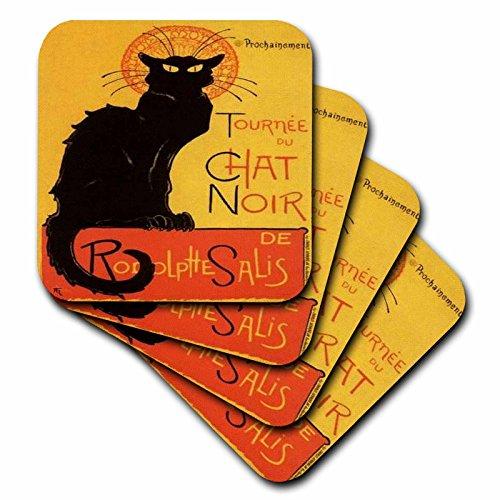 Taiche Acrylic Art Cats Le Chat Noir Coaster Soft Set of 8