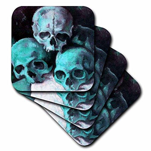 Taiche Acrylic Art Halloween Skulls Coaster Soft Set of 8