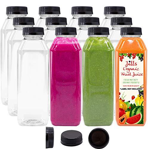 12 OZ Empty PET Plastic Juice Bottles - Pack of 12 BPA Free Reusable Clear Disposable Milk Bulk Containers with Black Tamper Evident Caps Lids